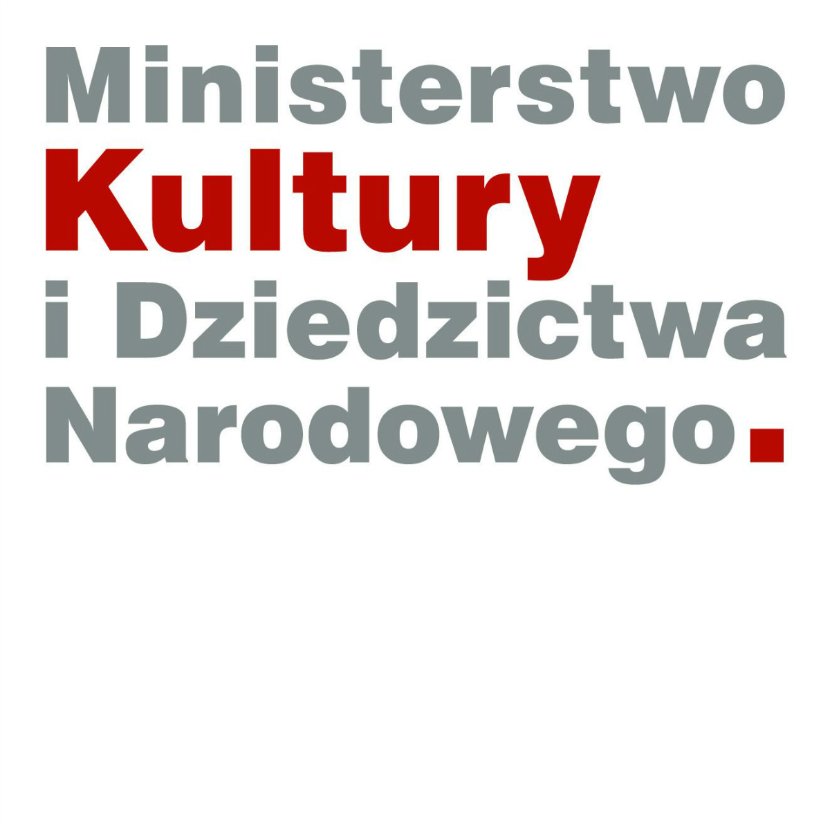 Logo Ministerstwa Kultury i Dziedzictwa Narodowego przedstawiające ten właśnie napis.